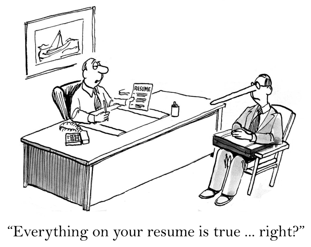 HR managers frequently discover lies on resumes.